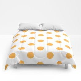 Polka Dots - Pastel Orange on White Comforters