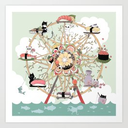 The Sushi Wheel Art Print