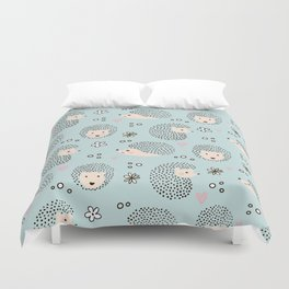 So Many Happy Little Hedgehogs To Hug Pattern Duvet Cover