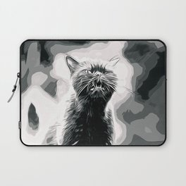british shorthair cat ready to attack vector art black white Laptop Sleeve
