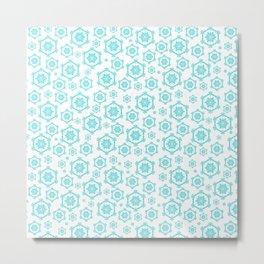 Snowflakes on White Metal Print