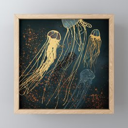 Metallic Jellyfish Framed Mini Art Print