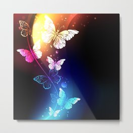 Fabulous Night Butterflies Metal Print