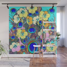 Modern Art Nouveau Peacock Jeweled Floral Blue Patterns Wall Mural