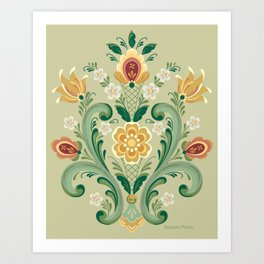 Rosemaling in Green and Gold Art Print