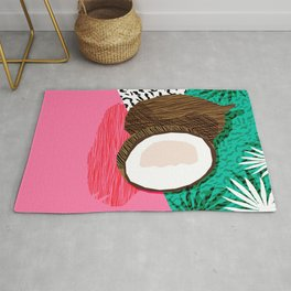 Bada Bing - memphis throwback tropical coconuts food vegan nature abstract illo neon 1980s 80s style Rug