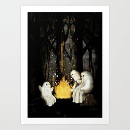 Marshmallows and ghost stories Art Print
