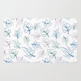 Pastel Leaves Pattern Rug