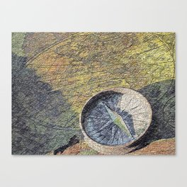 map with wind rose Canvas Print