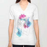 glasses V-neck T-shirts featuring Glasses by Camis Gray