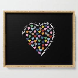 Hearts Heart Teacher Black Serving Tray