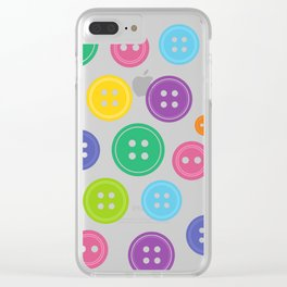 Colorful Rainbow Buttons Clear iPhone Case