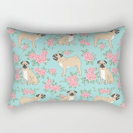 Pug florals pattern minimal modern pet friendly dog breed custom pet art Rectangular Pillow