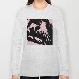 Unique Black and Pink Tropical Banana Leaves Pattern Long Sleeve T-shirt