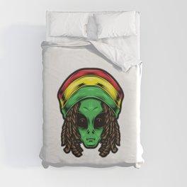 Reggae Alien Head Illustration Duvet Cover