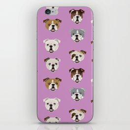 English Bulldog faces cute dog art pet portrait must have gifts for english bulldog owners iPhone Skin