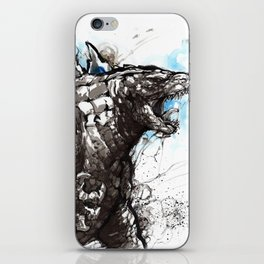 Godzilla sumi/watercolor art iPhone Skin