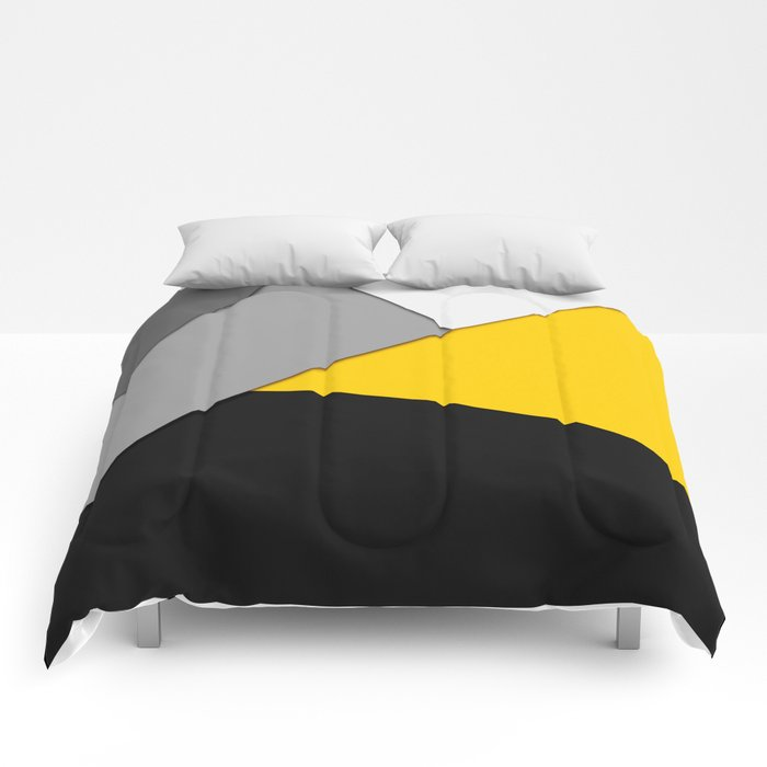 Simple Modern Gray Yellow and Black Geometric Comforters