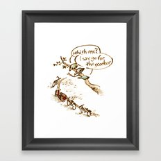 Pigeons and a scooter Framed Art Print