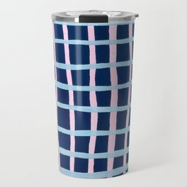 Pink and Blue Grid Travel Mug