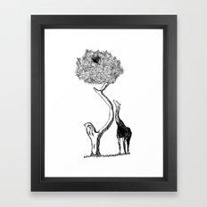 A Giraffe and His Dinner Framed Art Print