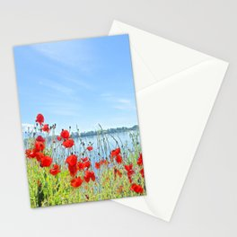Red poppies in the lakeshore Stationery Cards
