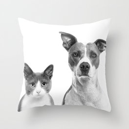 Cute Kitty Cat And Puppy Portrait Art Print, Cat And Dog Animal Nursery, Baby Animals Wall Art Decor Throw Pillow