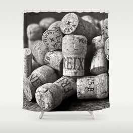 Cork of Champagne in Black and White Shower Curtain