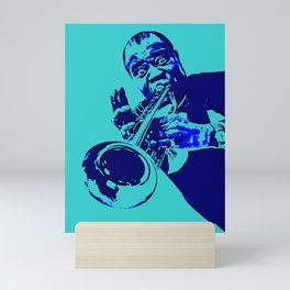 Teal Dreams Of Louis - Louie - Daniel Armstrong Satchmo - Satch - Pops - Pop Sketch-Art 700 Mini Art Print