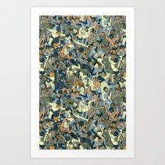Lucha Pattern(blue&orange) Art Print