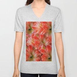 Pink & Red Amaryllis Patterns Floral Art Unisex V-Neck