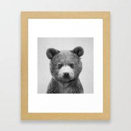 Baby Bear - Black & White Framed Art Print