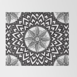 BLACK AND WHITE MANDALA  Throw Blanket