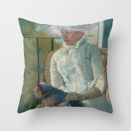 Young Girl at a Window Oil Painting by Mary Stevenson Cassatt Throw Pillow