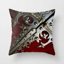 Photograph Red and Silver Gothic Abstract Portuguese Door Throw Pillow