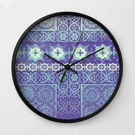stars with tile patchwork in mauve Wall Clock