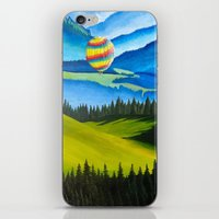 hot air balloons iPhone & iPod Skins featuring Acrylic Hot Air Balloons by Megan White