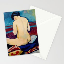 12,000pixel-500dpi - August Macke - Sitting Nude With Pillow - Digital Remastered Edition Stationery Cards