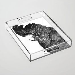 Black and White Cockatoo Illustration Acrylic Tray