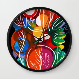 Abstract Flowers Pattern Red Green and Black art Wall Clock