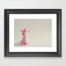 Pink Unicorn Sees You Framed Art Print