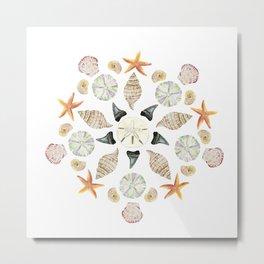 Florida Beachcombing Mandala 1 - Watercolor Metal Print