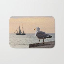 Sea gull and windjammer Bath Mat