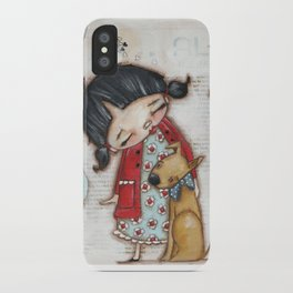 Trusted Confidant - A Girl confides in her Dog iPhone Case