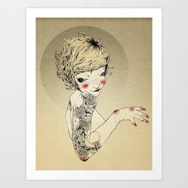 Golden tattooed girl Art Print