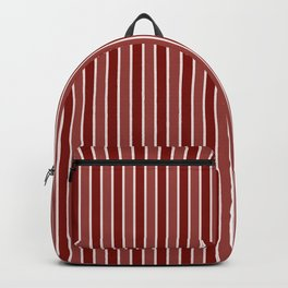 Vintage New England Shaker Village Milk Paint Barn Red Small Vertical Bedding Stripe Backpack