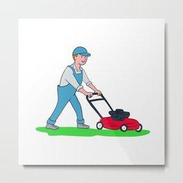 Gardener Mowing Lawn Cartoon Metal Print