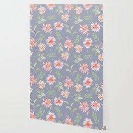 Blue Moody Florals Wallpaper