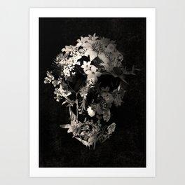 Spring Skull Monochrome Art Print