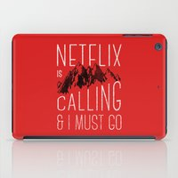netflix iPad Cases featuring Netflix is calling by Zeke Tucker